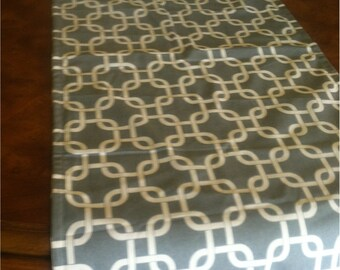 """Gray and Cream Lattice Table Runner up to 88"""" long - Ready to ship"""