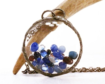 Blue shaker necklace, terrarium pendant, glass jewelry, floating necklace, floating locket, boho necklace, curiosity jewelry, gifts for her