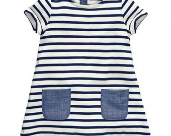 Girls stripe Denim Pocket Dress