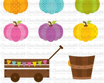 Pumpkin patch clipart vector - Digital Clipart - Instant Download - EPS, PNG files included