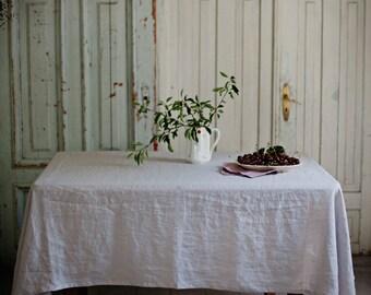 Light grey linen tablecloth, stonewashed. Rectangular, square, round. Custom sizes.