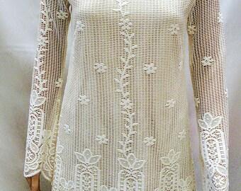 Flower Printed Lace Long Sleeve Top