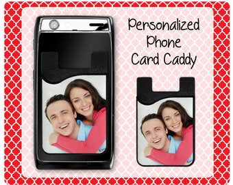 Personalized Phone Card Caddy, Credit Card Holder, Cell Phone Card Caddy