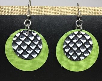 Leather, Earrings, Leather earrings, Saffiano leather, Italian leather, Lime green earrings, Round earrings, Double layered earrings