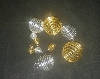 Large & Small , Gold , Silver, Mixed Spiral Bead Cages Pendants