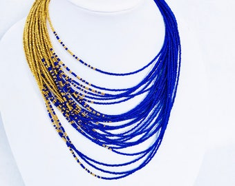 Royal Blue Gold Ombre Multi-strand Beaded Statement Necklace