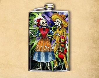 Flask 8oz Skeleton Couple #214