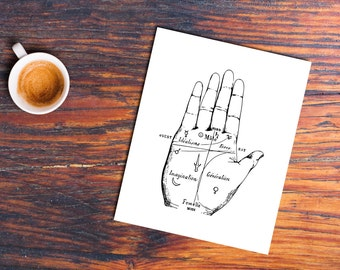 Palmistry Print, Palm Reading, INSTANT DOWNLOAD, Printable Art, Minimalist Decor, Black White Printable, Chiromancy, Fortune Teller Print