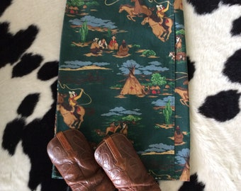 Wraps Long Skirt Vintage Western Print Green Fitted 1980-90s