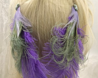 Pair of Lavender Feather Hair Clips, Matching Feather Fascinators, Feather Accessorie, Lavender  Feather Barrettes,Boho Clips