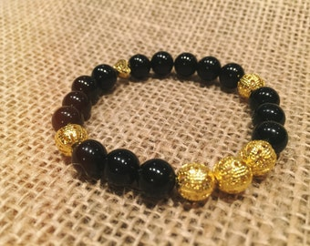 Black and gold natural stone bracelet • Valentine's gift for her