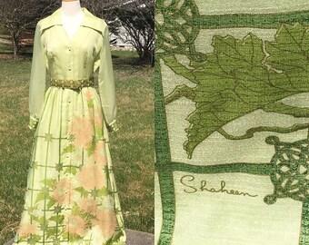 """Vintage Dress Alfred Shaheen Maxi Dress 28"""" Waist"""