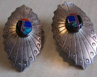 Large Sterling Silver Earrings with Inlay Center