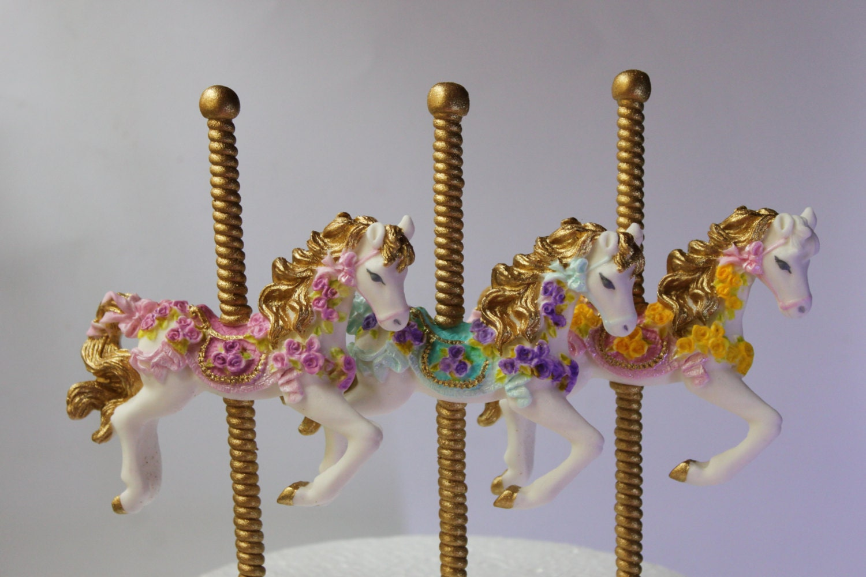 carousel steun keuken : Carrousel Paard Taart Topper 3 Fondant Gom Plakken Paarden