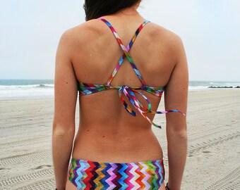 SALE - Bikini  BOTTOM 'Montauk Chevron' style by Nalu Tribe