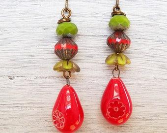 Red Ceramic Earrings, Red and Lime Earrings, Green Earrings, Czech Glass Earrings, Boho Earrings, Rustic Earrings, Handmade Jewellery.