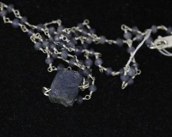 Tanzanite pendant 30ct, on Iolite beaded silver chain lobster clasp