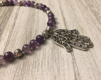 Amethyst 6MM Bead Necklace & Hamsa Pendant