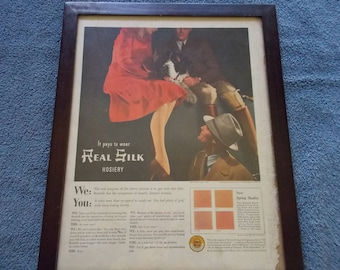 Life Magazine March 11 1940 Framed Ad for Hosiery