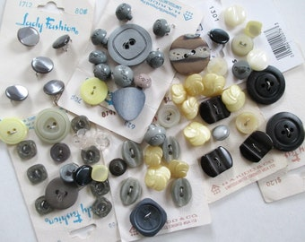 63 Buttons Plastic Shades of Grey Grand and Cream Light Yellow Estate Lot Vintage Some on Cards