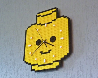Clock made of Lego bricks - Minifig head // Geek gift