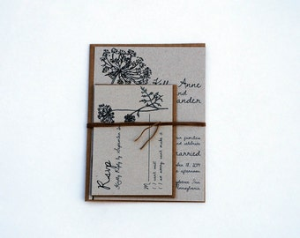 The Molly Collection - Rustic Queen Annes Lace Kraft Wedding Invitation Set in Black and Yellow - SAMPLE