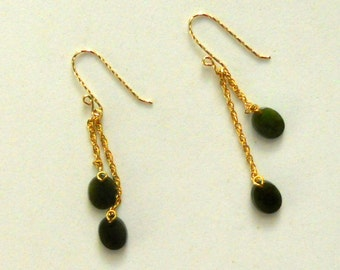 Oval Deep Green Jade Earrings with 14kt GoldFilled Chain and Earwires