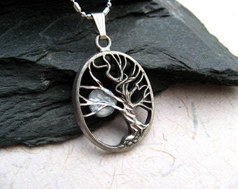 Silver Tree and Moon Necklace, Tree of Life and Moon Necklace, Antique Pewter, Sterling Silver Chain, Tree Jewelry, Moon Jewelry
