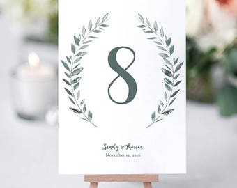 "Rustic Wreath Wedding Table Numbers Template Printable Numbers | Leaves Wreath | Royal Gardens | 4x6 and 5x7"" Numbers Edit in WORD or PAGES"