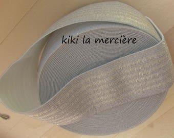 Silver wide elastic shirring or smock flat 5.2 cm
