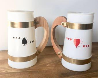 Vintage Siesta Ware Frosted Mugs Set of 2 / Heart Mug / Club Mug / Wooden Handle / Poker / Game Night /