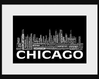 Chicago Skyline mot typographie Art typographique impression affiche