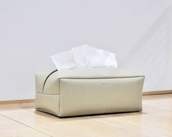 PU Leather Tissue Box Cover, Rectangle Tissue Box, Facial Tissue Holder, Soft Touch, Beige