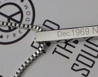Silver Bar Necklace, Personalised Engraved 30mm Necklace, Stainless Steel Mens Ladies Bar Pendant Necklace, Custom Made Gift