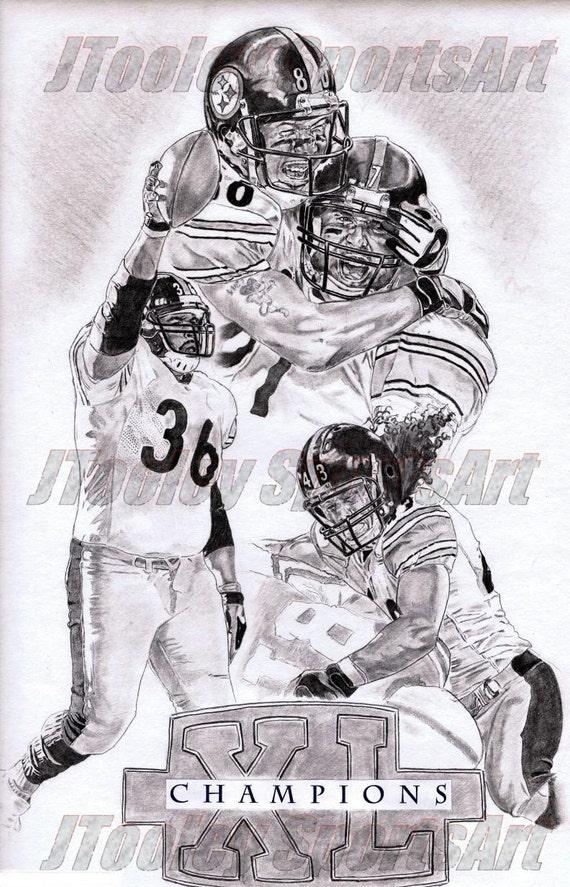 Pittsburgh Steelers Campeones Collage arte cartel