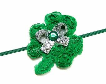 Shabby Shamrock Headband, Irish Princess, Green Clover Headband, Green Glitter Bow, Irish Team Spirit, March Baby Gift, Shabby Clover