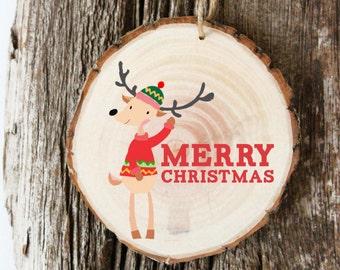 Modern Christmas Ornament - Gifts Under 10 Dollars - Tree Slice Ornament - XMAS032