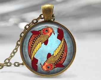 Pisces Zodiac Glass Pendant - Pisces Zodiac Jewelry - Zodiac Necklace - Art Pendant - Zodiac Necklace -Zodiac Charm,Astrology Pendant