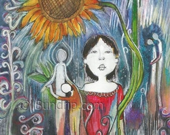 Sunflower Art Figurative Expression Colorful Art Wildflowers Yoga Dance