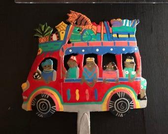 Hand painted 80's Metal Haitian Bus hanger