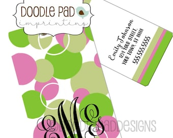 Polka Dot Monogram Luggage Tag,  Personalized Bag Tag,
