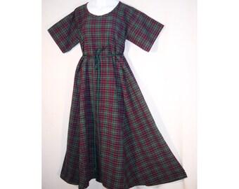 Girl Sz 10 Medieval Plaid Cotton Dress Gown SCA LARP