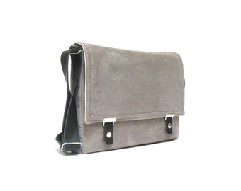 MacBook laptop messenger bag - dove gray herringbone