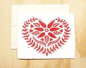 Single Card - Red Heart Card - Swedish Heart - Greeting Card - 1 Block Printed Card