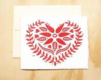 Single Card - Red Heart Card - Swedish Heart - Greeting Card - 1 Block Printed Card