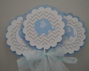 Elephant Theme Centerpieces - Elephant Baby Shower - Elephant Centerpiece - Elephant Shower - Blue and Gray - It's a Boy - Set of 3