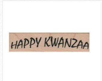 Rubber stamp    Happy Kwanzaa   quote African American  holiday celebration stamping scrapbooking supplies number 8600