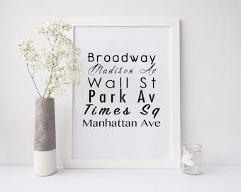 New York City Printable Art, NYC printable art, NYC instant download, new york city street name, printable art, city wall art, city art