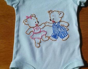 Teddy Bear Onesie. Hand Embroidered
