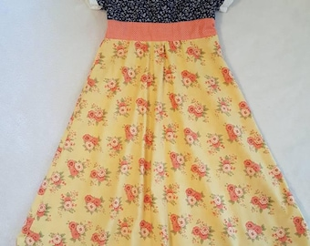 Coral Floral Dress,, size 6